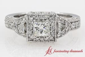 Square Art Nouveau Princess Cut Diamond Ring In 14K White Gold
