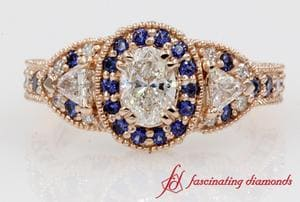 Oval Diamond With Halo Sapphire Ring