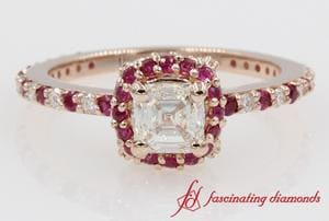 Asscher Diamond With Ruby Ring