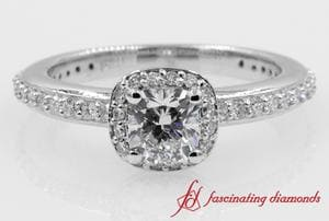 Delicate Cushion Cut Diamond Halo Engagement Ring In White Gold