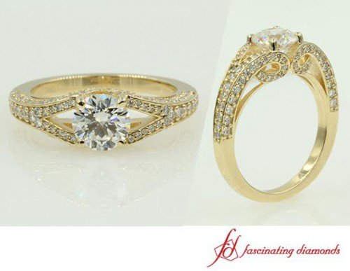Yellow Gold Engagement Ring Double Shank