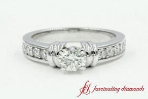 Bar Set Round Cut Engagement Ring In White Gold