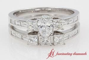 Baguette Side Stone Three Diamond Bridal Ring Set For Women In White Gold