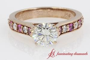 Pink Sapphire Accent Engagement Ring