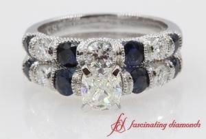 Cushion Cut Diamond Wedding Ring Set With Blue Sapphire In 14K White Gold