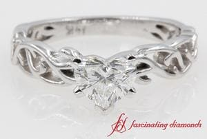 Filigree Heart Shape Single Stone Engagement Ring In White Gold