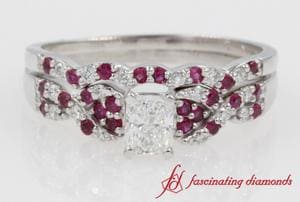 Interlocked Radiant Cut Diamond With Ruby Wedding Set In 14k White Gold