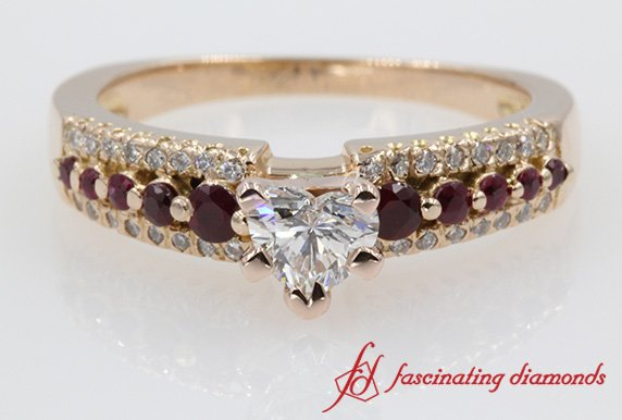 Ruby And Heart Diamond Engagement Ring