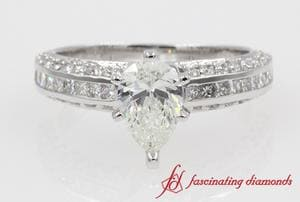 Side Stone Pave Diamond Ring