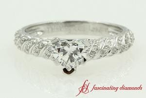 Pave Rope Diamond Heart Shaped Engagement Ring In White Gold
