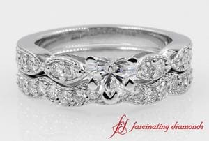 Milgrain Heart Diamond Ring With Matching Wave Band In White Gold