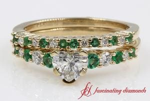 Green Engagement Ring And Wedding Band