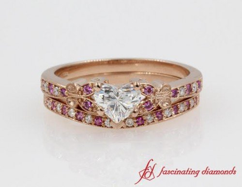 Butterfly Heart Shaped Diamond Wedding Ring Sets