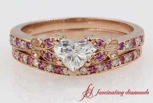 Butterfly Heart Shaped Diamond Wedding Ring Sets With Pink Sapphire In 14K Rose Gold