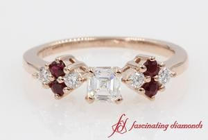 Ruby And Diamond Side Stone Asscher Cut Engagement Ring