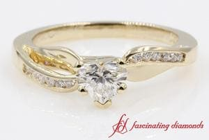 Twist Petal Channel Accented Heart Diamond Engagement Ring In Yellow Gold