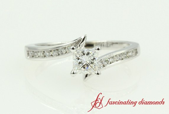 Princess Cut Diamond Twisted Channel Set Engagement Ring In White Gold