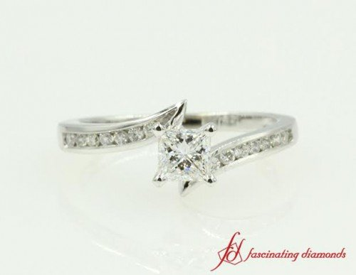 Diamond Bypass Engagement Ring White Gold