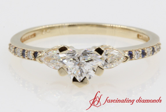 Heart And Pear Accent Diamond Ring