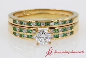 Emerald & Diamond Channel Set Wedding Set