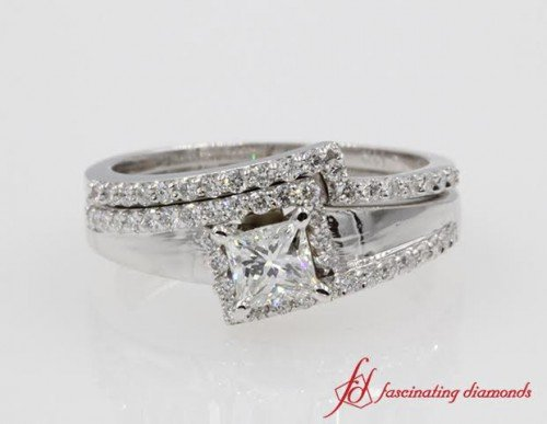 Square Halo Engagement Ring And Band
