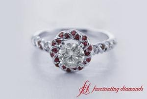 Round Diamond Halo Twisted Ring