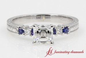 Sapphire Side Stone Engagement Ring