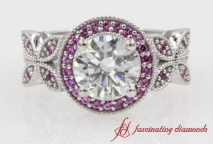 Halo Round Vintage Engagement Ring