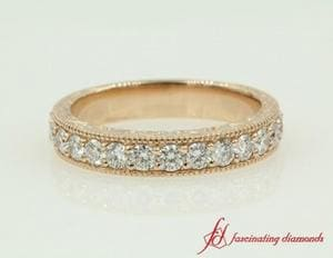 Round Diamond Rose Gold Band