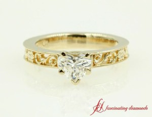 Yellow Gold Single Diamond Engagement Ring