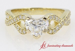 Entwine Pave Heart Diamond Engagement Ring In 14K Yellow Gold
