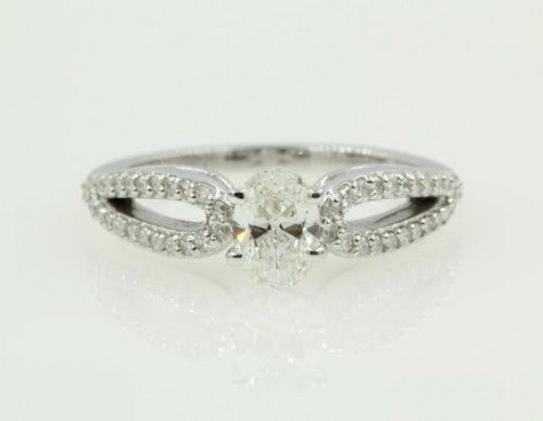 White Gold Small Diamond Engagement Ring