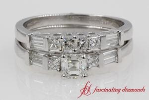 Asscher Cut Diamond Baguette & Princess Accent Wedding Set In White Gold