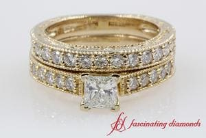 Milgrain Pave Diamond Wedding Ring Sets In Yellow Gold For Women