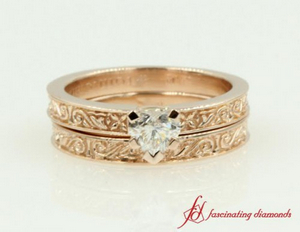 Solitaire Vintage Floral Wedding Ring Set