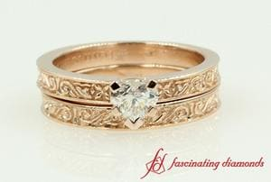 Filigree Heart Wedding Ring Set