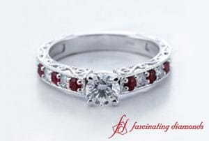 Round Cut Milgrain Diamond Engagement Ring With Red Ruby In 18k White Gold