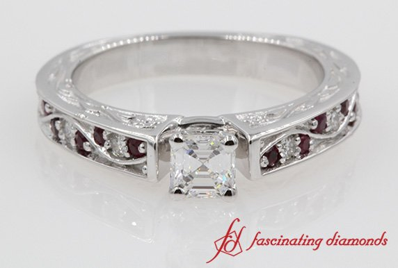 Filigree Asscher Diamond Ring With Ruby
