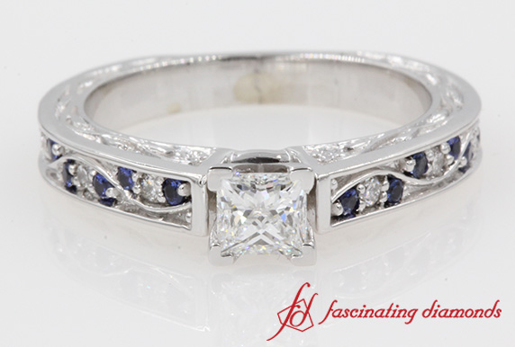 Filigree Princess Cut Diamond Engagement Ring With Blue Sapphire In 14k White Gold