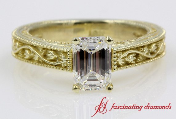 Floral Design Vintage Emerald Cut Solitaire Diamond Ring