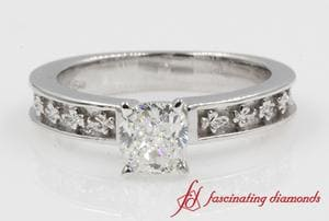 Floral Carved Cushion Cut Ring