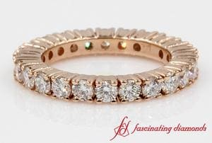 Shared Prong Round Diamond Eternity Band For Women In Rose Gold