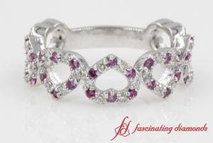 Pink Sapphire And Diamond Heart Shaped Eternity Wedding Band