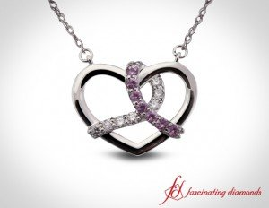 Round Cut Diamond And Pink Sapphire Pendant