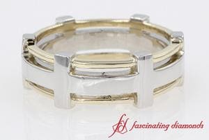 Two Tone Mens Wedding Band In 14K White Gold
