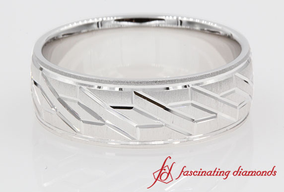 Unique Tyre Design Brushed Wedding Band