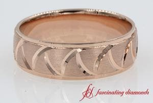 Rose Gold Triangular Design Wedding Band For Men