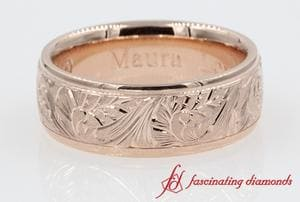 Mens Wide Wedding Band In 14K Rose Gold