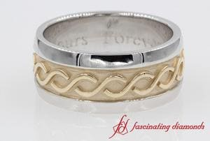 Mens Filigree Two Tone Band