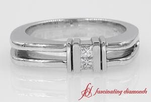 2 Princess Cut Diamond Channel Comfort Fit Ring